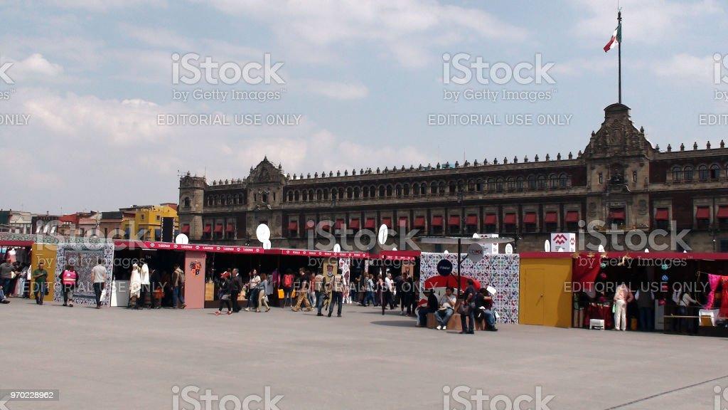 Mexico City Handicraft Market Plus People View At Zocalo Plaza De La