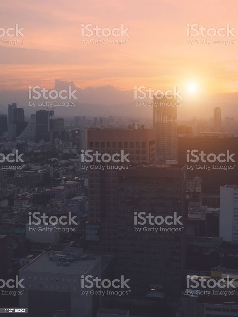 Panoramic view of Mexico City from the observation deck at the top of...