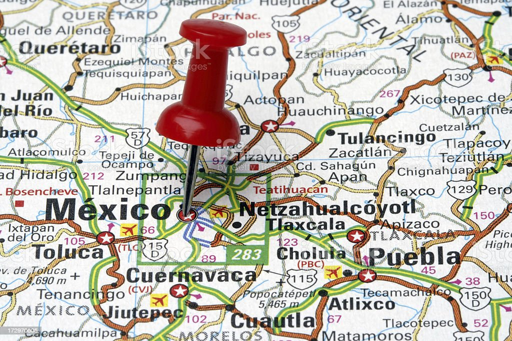 Mexico City on a Map royalty-free stock photo