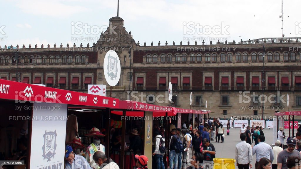 Mexico City Parliament Building Handicraft Market And People Scene