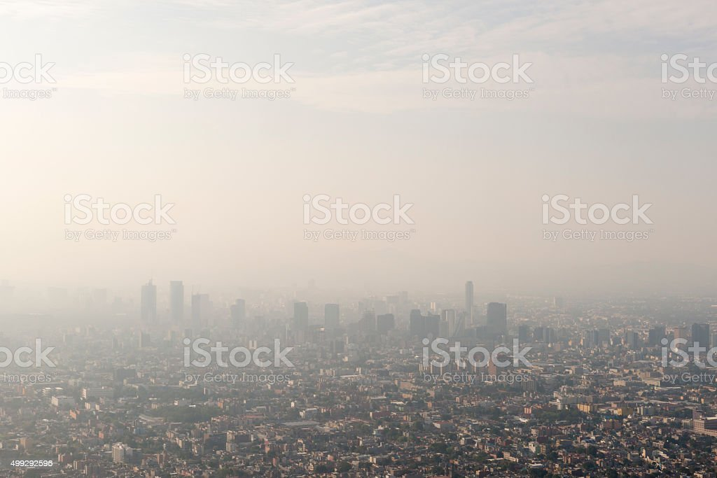 Mexico City skyline and smog stock photo