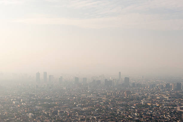 mexico city skyline and smog - pollution stock pictures, royalty-free photos & images