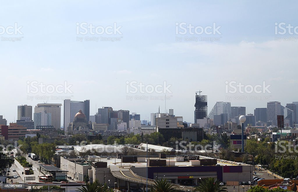 Mexico City skyline from Buenavista royalty-free stock photo
