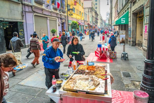 Mexico City street food taco stand stock photo