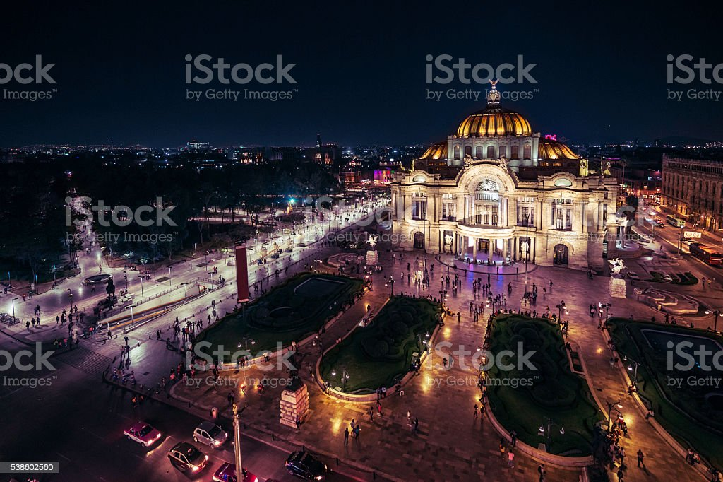 Mexico City's Downtown At Nighttime stock photo