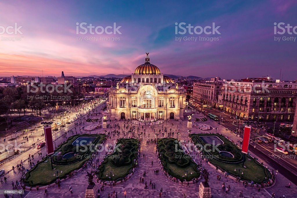 Mexico City's Downtown At Twilight stock photo