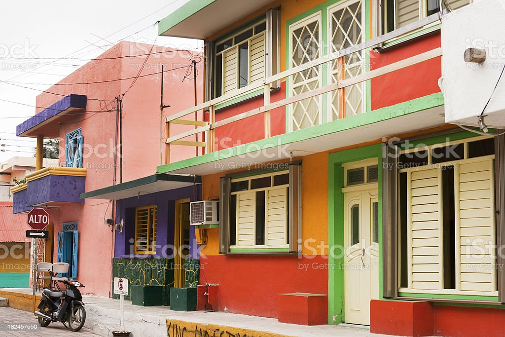 Mexico Color and Style: Streets of Town on Isla Mujeres stock photo