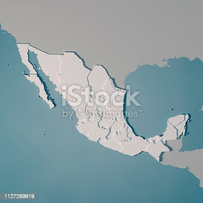 3D Render of a Country Map of Mexico with the Administrative Divisions. Made with Natural Earth.  https://www.naturalearthdata.com/downloads/10m-cultural-vectors/ All source data is in the public domain.