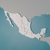 3D Render of a Country Map of Mexico with the Administrative Divisions.\nMade with Natural Earth. \nhttps://www.naturalearthdata.com/downloads/10m-cultural-vectors/\nAll source data is in the public domain.