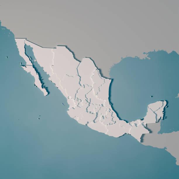 Mexiko Landkarte Verwaltungsstruktur 3D Render – Foto