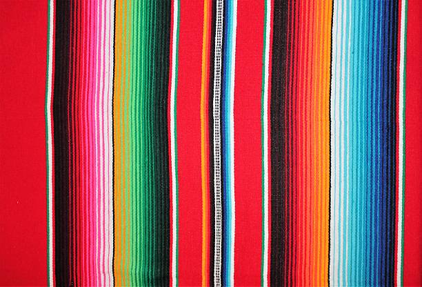 Mexico fabric poncho serape Mexican background with copy space textile Fabric poncho serape Mexico traditional cinco de mayo rug poncho fiesta background with stripes copy space textile mexican culture stock pictures, royalty-free photos & images