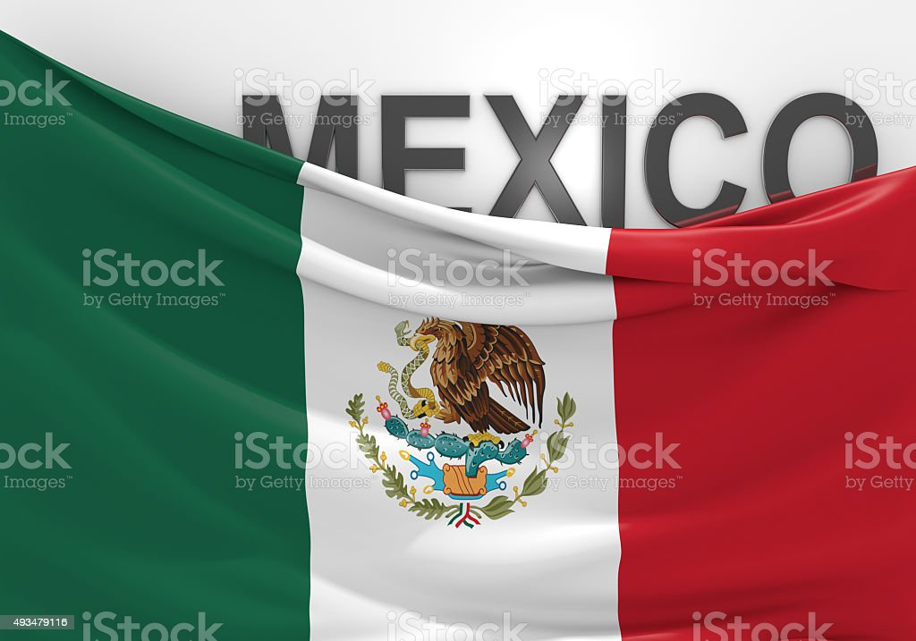 Mexico flag and country name in 3D text stock photo