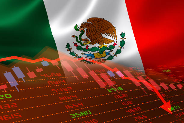 Mexico Flag and Economic Downturn With Stock Exchange Market Indicators in Red stock photo