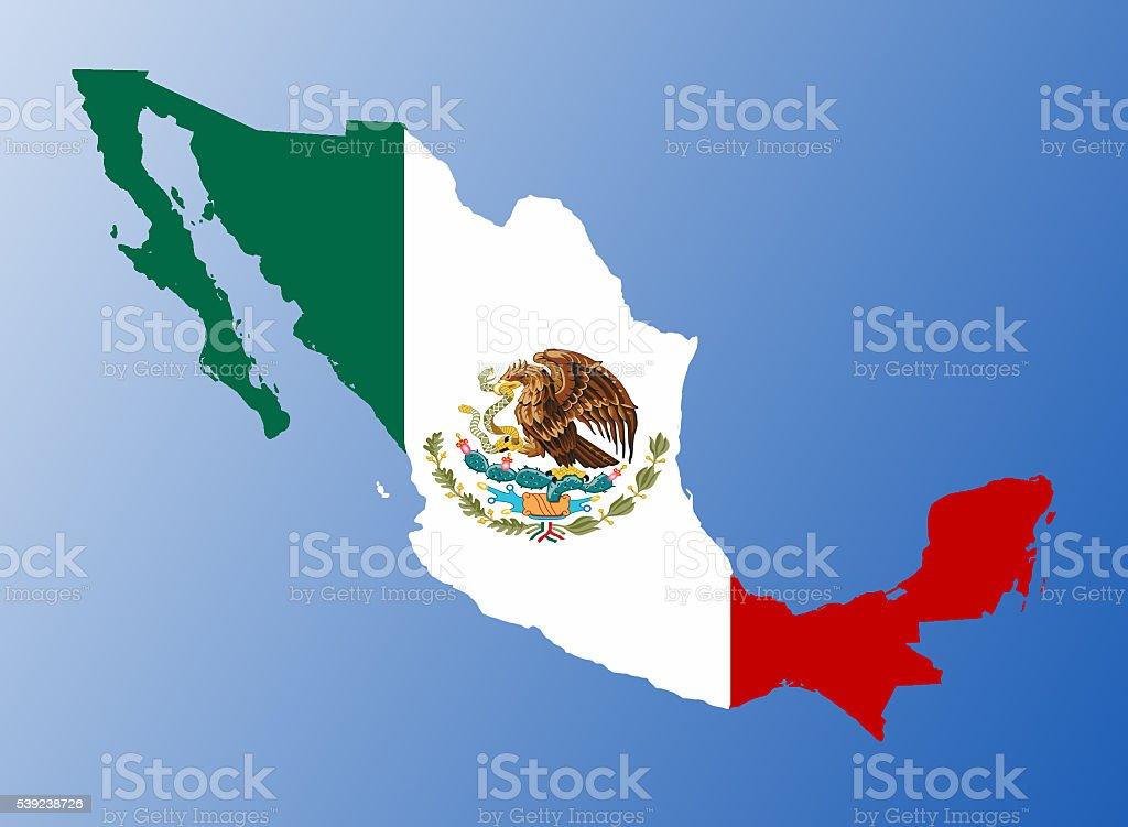 Bandera de Mapa de México foto de stock libre de derechos