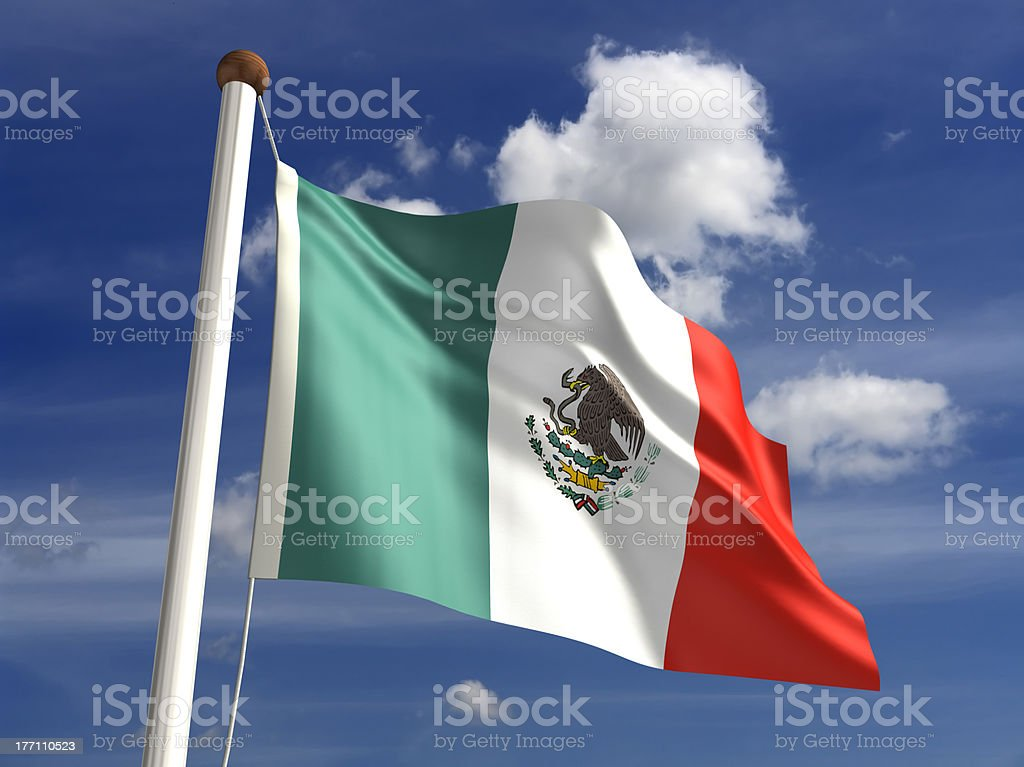 Mexico flag (with clipping path) stock photo