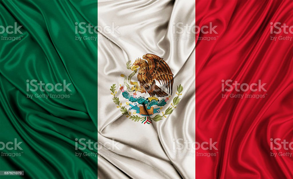 Mexico flag - silk texture stock photo
