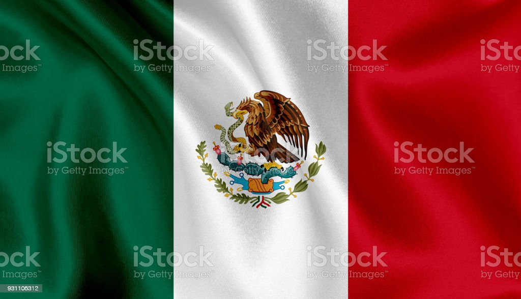 Bandera de México ondeando fondo - foto de stock
