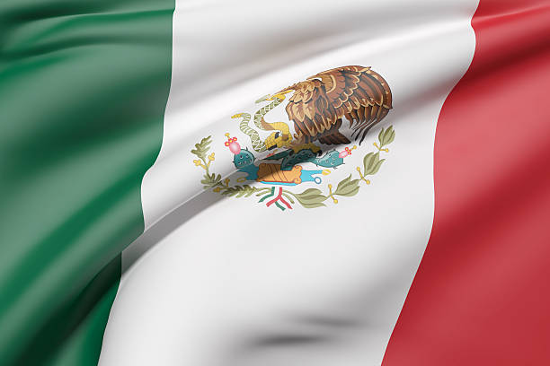 Mexico flag waving - foto de stock