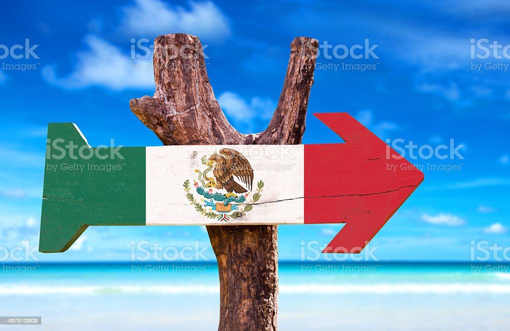 Mexico Flag wooden sign with a beach on background stock photo