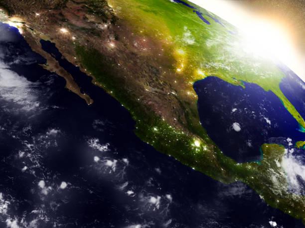 México desde el espacio durante el amanecer - foto de stock