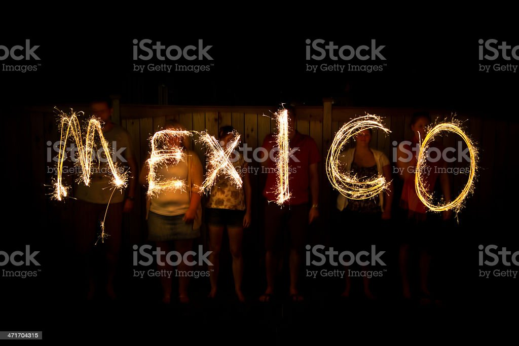 Mexico in sparklers time lapse photography stock photo