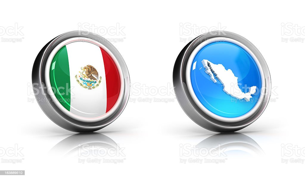 Mexico Map & Flag Icons royalty-free stock photo
