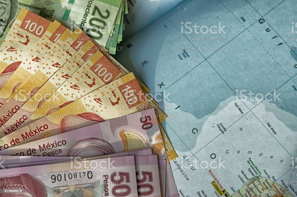 Mexico map and pesos stock photo