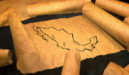 istock Mexico Map Drawing Unfolding Old Paper Scroll 3D 505899290