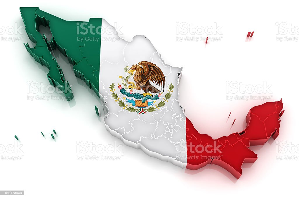 Mexico map with flag royalty-free stock photo
