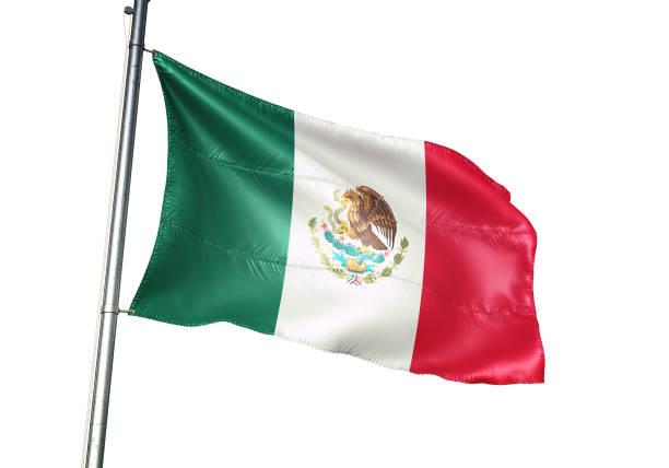 méxico, bandera de méxico ondeando aislado en ilustración 3d realista de fondo blanco - bandera mexico fotografías e imágenes de stock