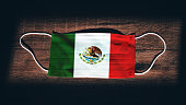Mexico National Flag at medical, surgical, protection mask on black wooden background. Coronavirus Covid\