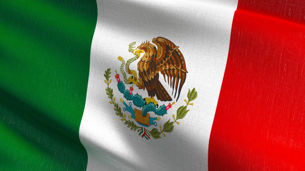 bandera nacional de méxico soplando en el viento aislado. diseño abstracto patriótico oficial. ilustración de representación 3d del símbolo de signo ondulado. - bandera mexico fotografías e imágenes de stock