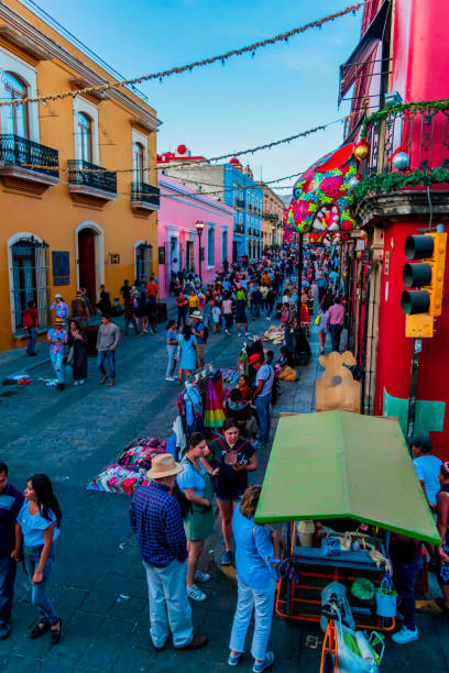 Mexico, Oaxaca, Center of Oaxaca, 02/01/2020: Fullshot of a famous street in the center of Oaxaca stock photo