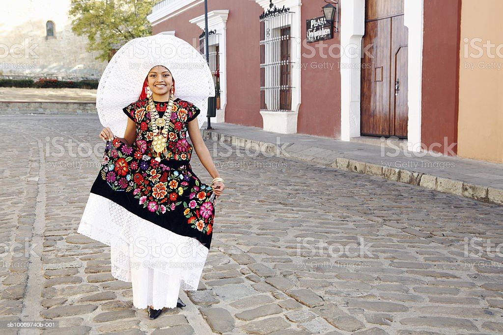 Mexico, Oaxaca, Istmo, portrait of woman in traditional costume royalty-free stock photo