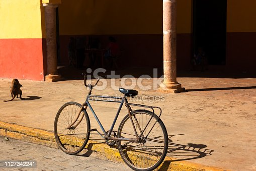 Mexico: Old Sunlit Black Bike and Dog. Shot in Santa Elena near Uxmal, Yucatan Peninsula. Some copy space available.