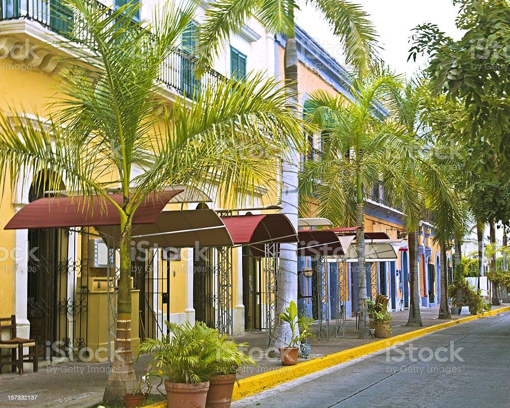 Mexico: Outdoor Restaurant Row in Old Mazatlan stock photo