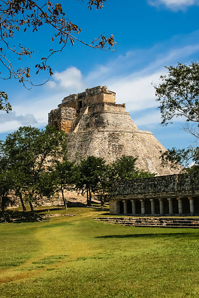 mexico, palenque, mayan pyramid - uxmal stock photos and pictures