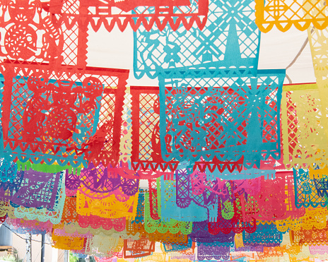 Mexico Papel Picado Cut Out Paper Flags Day Of The Dead Michoacan Stock Photo - Download Image Now