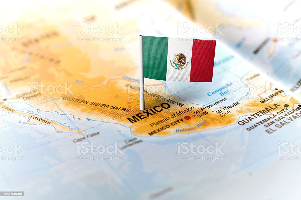 Mexico Pinned On The Map With Flag Stock Photo - Download ...