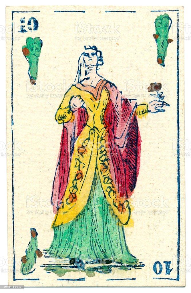 Mexico playing card baraja 1846 Jack of Clubs bastos batons stock photo