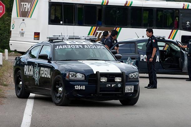 Mexico Police Road Block stock photo