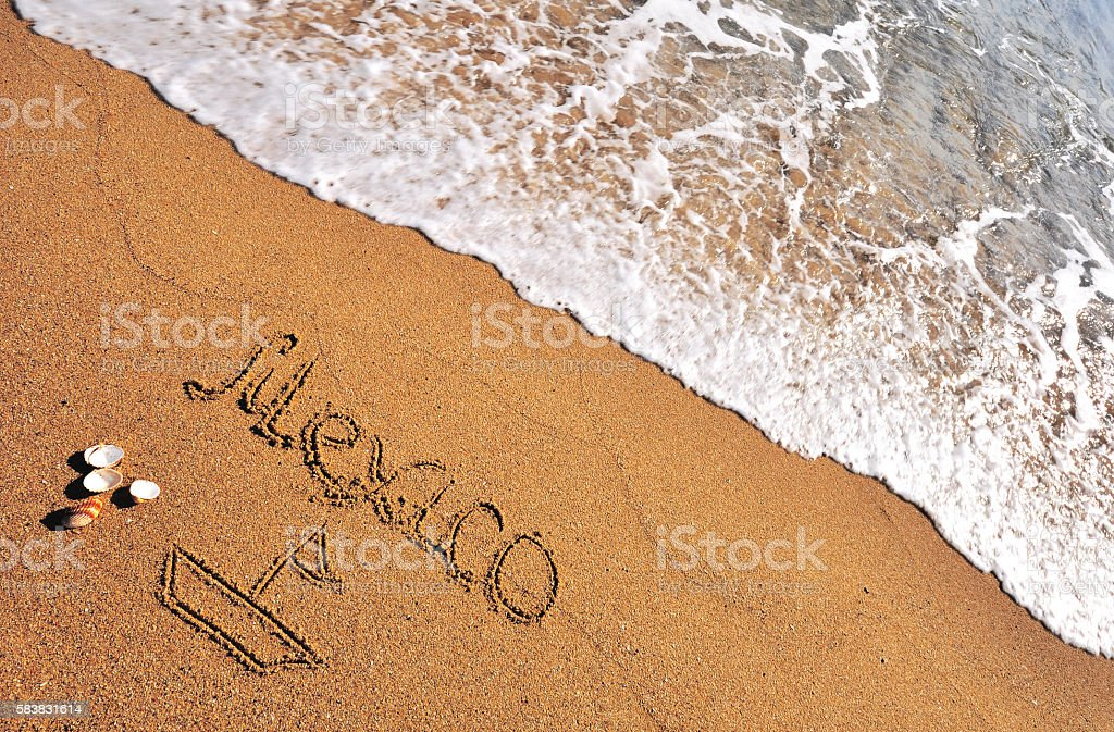 Mexico sign in the beach stock photo
