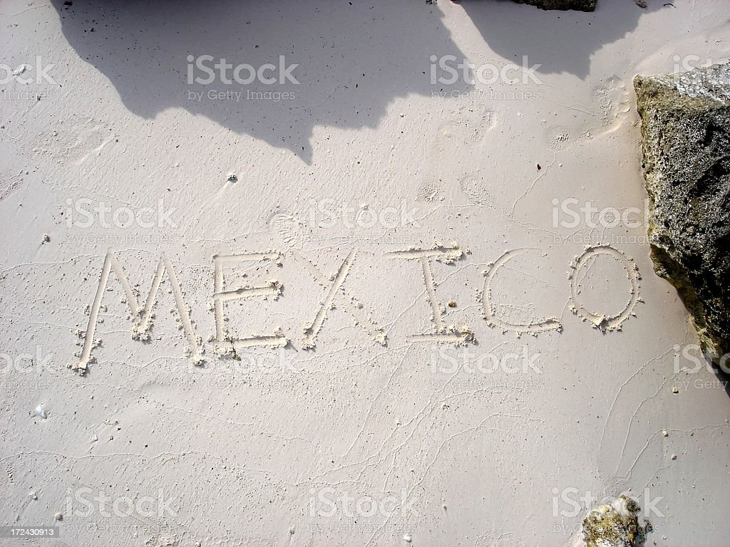 Mexico spelled out in the Sand royalty-free stock photo
