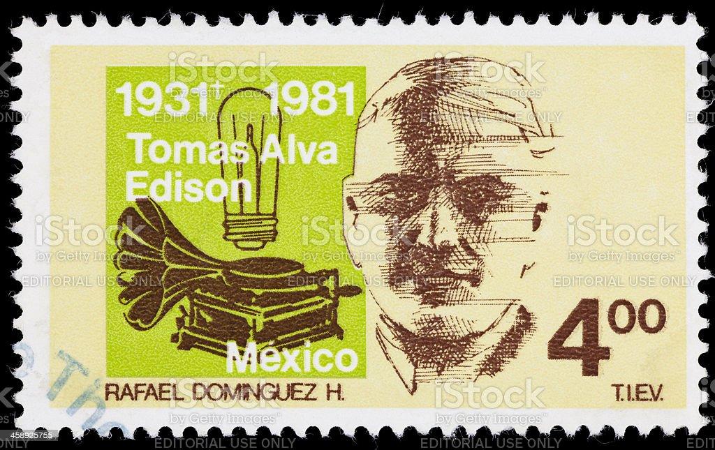 Mexico Thomas Edison postage stamp stock photo