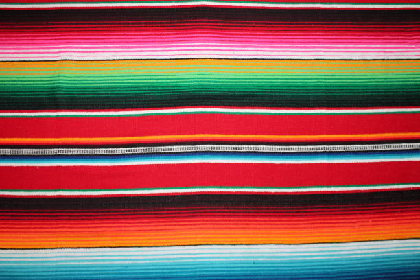 Mexico traditional cinco de mayo rug poncho fiesta background with stripes copy space stock photo