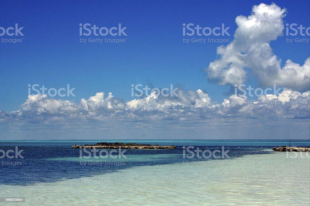 mexico tropical lagoon hill navigable stock photo