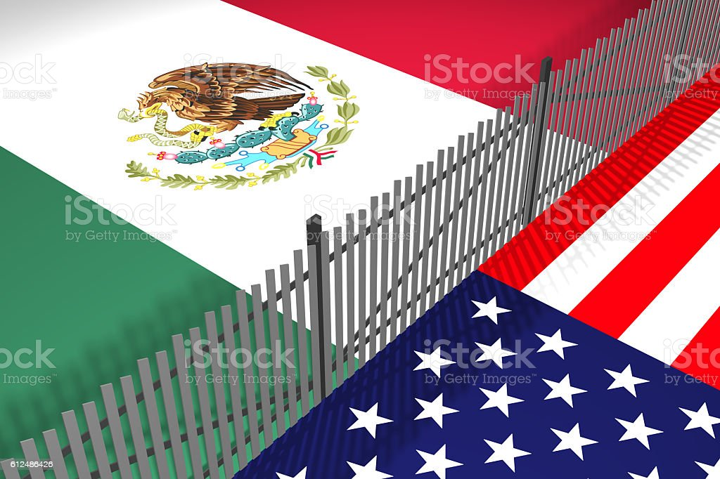 Mexico - USA Border Fence Wall stock photo