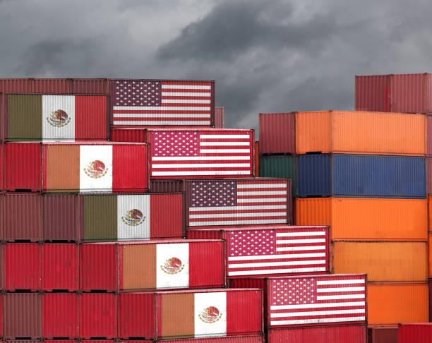 Mexiko-USA Handel War Tarif Fracht-Container Export import Versand – Foto