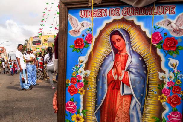 Mexico - Virgin of Guadalupe - Pilgrims - Merida - Virgen de Guadalupe - Guadalupanos stock photo