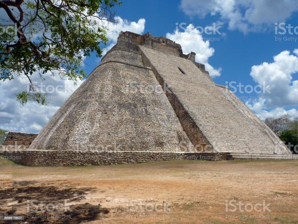 Mexico, Yucatan, Uxmal, May, 25 2013, visit to the pyramid of the guilty, Pyramid of Adivino stock photo